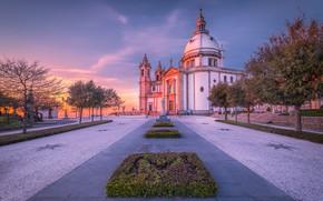 Picture trees, sunset, area, Portugal, beds, Portugal, Braga, Sameiro Sanctuary, Святилище Самейро, Брага