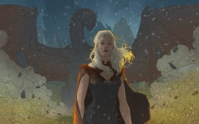Picture Dragon, Girl, Wings, Fantasy, Game of Thrones, Game of thrones, Daenerys Targaryen, Daenerys Targaryen, Character, …