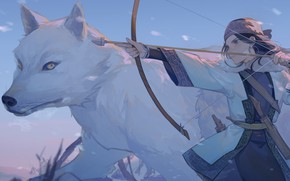 Picture wolf, bow, arrow, Golden Kamuy, Golden deity, ASICA