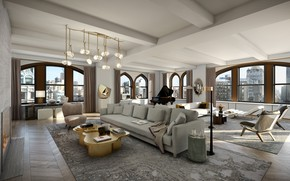 Picture interior, megapolis, NYC, living room, New York, Flatiron Penthouse
