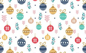 Picture balls, toys, Christmas, christmas, balls, pattern, cute, seamless