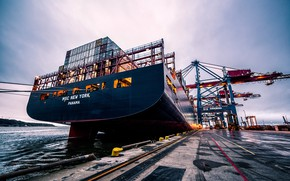 Picture Port, Pier, The ship, Utah, New York, A container ship, Cranes, MSC, Feed, Container Ship, …
