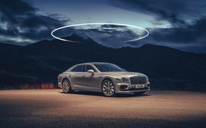 Picture mountains, Bentley, twilight, Flying Spur, 2020, Blackline