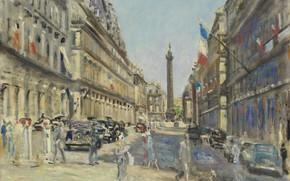 Picture picture, the urban landscape, 1949, Lucien Adrion, Lucien Adrion, Paris. The Rue Castiglione. Place Vendôme