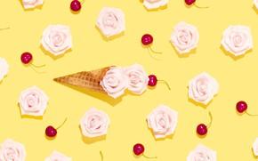 Picture cherry, roses, rose, fruit, buds, dessert, decor