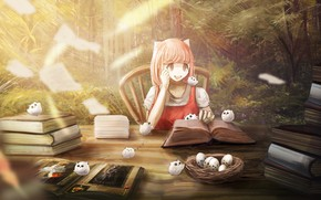 Picture forest, nature, table, books, socket, girl, owlets
