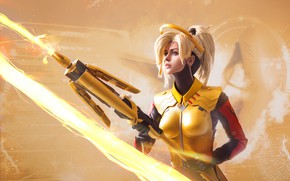 Picture girl, weapons, cosplay, Overwatch