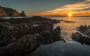 Picture sea, the sky, the sun, clouds, landscape, sunset, nature, stones, rocks, shore, the evening, surf, …
