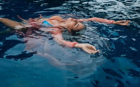 Picture pose, hands, closed eyes, water, girl, Alexander Semanin, pool