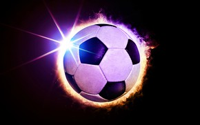 Picture rays, light, fire, flame, football, sport, the ball, black background