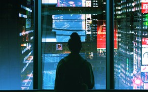 Picture Girl, Night, The city, Neon, Style, Girl, Silhouette, City, Fantasy, Art, Art, Style, Night, Fiction, …