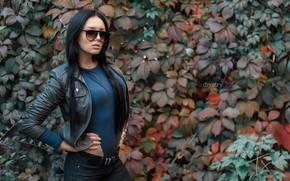 Wallpaper autumn, girl, photo, glasses, jacket, Maria, Dim Khokhlov