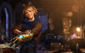 Picture night, room, lamp, sword, guy, glove, Ezreal, Legends of Runeterra