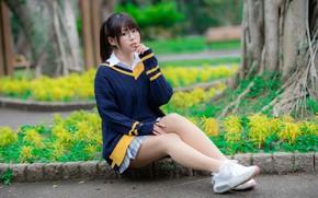 Picture look, glasses, legs, Asian, cutie