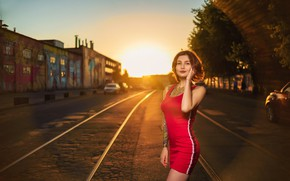Picture road, the sky, the sun, trees, machine, pose, model, rails, home, makeup, figure, slim, dress, …