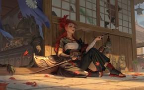 Picture autumn, girl, katana, warrior, art, Hou China, 妖——Demon