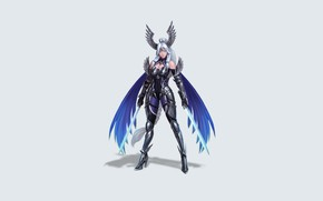 Picture Girl, Fantasy, Art, Style, Illustration, Thunder, Minimalism, Wings, Valkyrie, Swords, Figure, Character, Hyungseok Yang