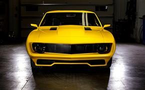 Picture Chevrolet, Camaro, Inferno, Yellow, Custom, Garage