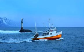Picture sea, fisherman, Norway