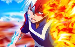 Picture fire, ice, guy, fad, My Hero Academia, Boku No Hero Academy, Todoroki Shoto, My Hero …