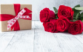 Picture holiday, gift, roses, bouquet, red