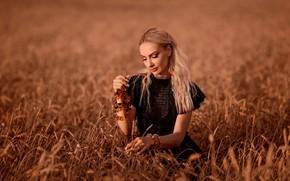 Picture field, summer, girl, mood, blonde, ears, Tatiana GUZ