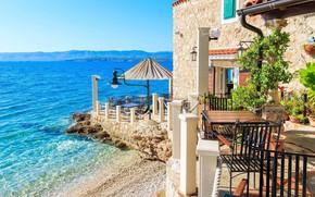 Picture sea, Villa, restaurant, resort, Croatia, villa, tables, Brac, the island of brac