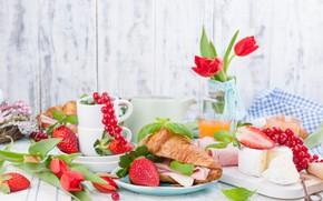 Picture berries, Breakfast, cheese, sandwich, bacon, Croissant, Iryna Melnyk