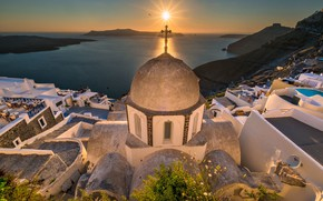 Picture sunset, Greece, Church, the island of Santorini
