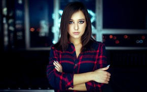Picture look, night, lights, pose, model, portrait, makeup, hairstyle, shirt, brown hair, beauty, bokeh