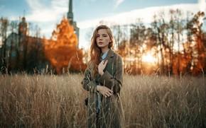 Picture field, look, background, model, hair, bokeh, Alexander Kurennoy