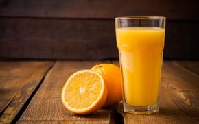 Picture glass, oranges, juice
