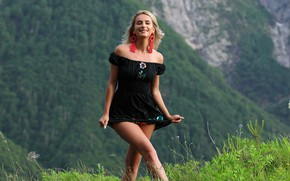 Picture forest, hot girl, trees, nature, greenery, outside, sexy woman, countryside, exotic, posing, black dress, blonde …