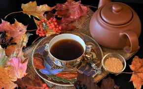 Picture leaves, berries, tea, kettle, Cup, fabric, burlap, Rowan