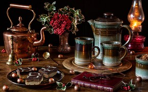 Picture style, berries, lamp, kettle, glasses, mug, book, still life, cakes, coffee pot, English