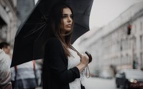 Picture girl, umbrella, Andrey Popenko