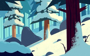Picture Winter, Snow, Forest, Tree, Art, Cold, Trees, Cartoon, Cold, Environment, by Andrey Syailev, Andrey Syailev