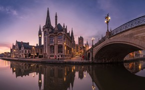 Picture the sky, water, bridge, lights, reflection, river, dawn, home, lights, channel, Belgium, architecture, Ghent