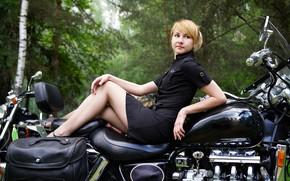 Picture dress, blonde, bike, legs