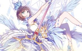 Picture look, girl, wings, angel, Card Captor Sakura, Sakura - collector cards