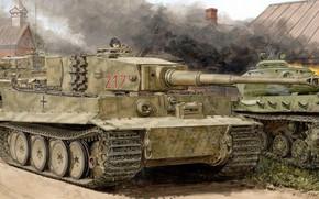 Picture tiger, Germany, tank, the Wehrmacht, Ron Volstad, Tiger I, Pz.Kpfw. VI, panzerwaffe, Heavy, Sd.Car. 181
