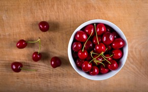 Picture cherry, berries, table, background, red, wooden, bowl, placer, shiny, cherry, composition, bowl