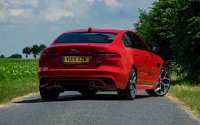 Picture red, Jaguar, back, sedan, 2019, XE P300 AWD