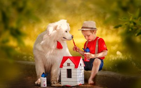 Picture butterfly, dog, hat, boy, house, bokeh, Ксения Лысенкова
