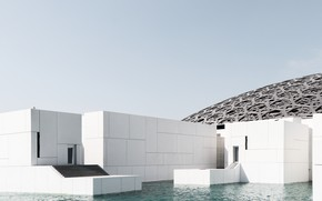 Picture construction, stage, architecture, pond, Minimalist Look at the Abu Dhabi Louvre