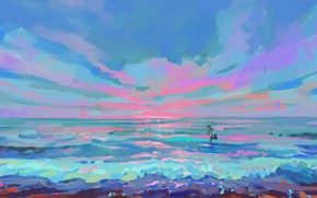 Picture sea, the sky, schoolgirl