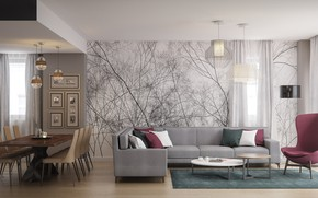 Picture interior, living room, dining room, open space modern, Apartment in Bucharest
