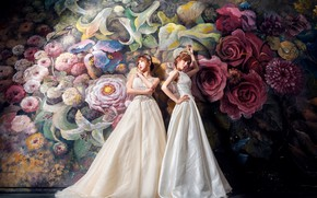 Wallpaper flowers, style, the dark background, background, girls, wall, two, roses, bouquet, white, painting, Duo, painting, ...