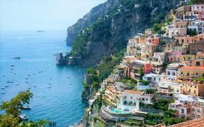 Picture sea, home, Italy, Positano, Positano, Amalfitana coast
