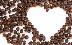 Picture background, coffee, grain, love, heart, beans, coffee